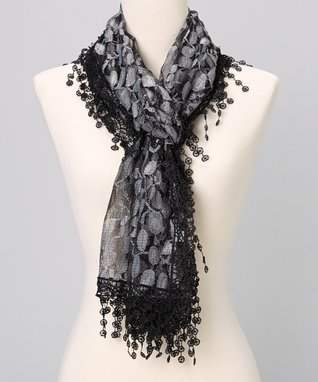Brown Embroidered Lace Scarf