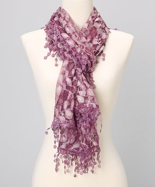 Purple Branches Lace Shawl Scarf