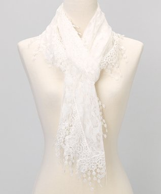White Branches Lace Shawl Scarf
