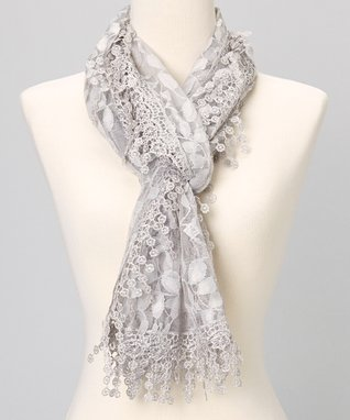 Gray Branches Lace Shawl Scarf
