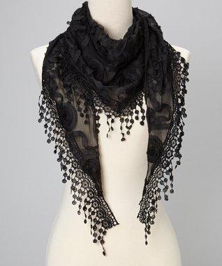 Black Flower Lace Silk-Blend Scarf