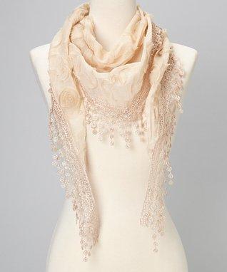 Cream Flower Lace Silk-Blend Scarf