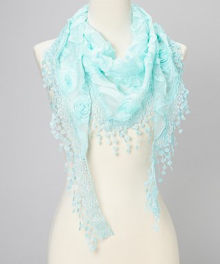 Light Blue Flower Lace Silk-Blend Scarf