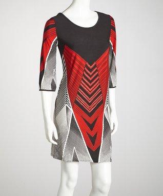 Red Chevron Dress - Women & Plus