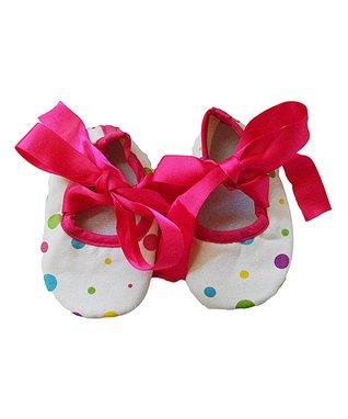 White & Hot Pink Polka Dot Bootie
