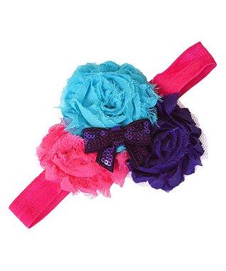 Pink & Blue Sequin Bow Flower Headband