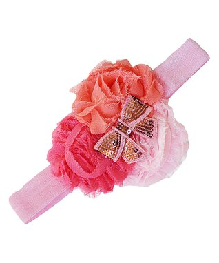 Pink & Peach Sequin Bow Flower Headband