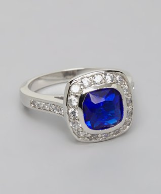 Blue & White Cubic Zirconia Petal Ring