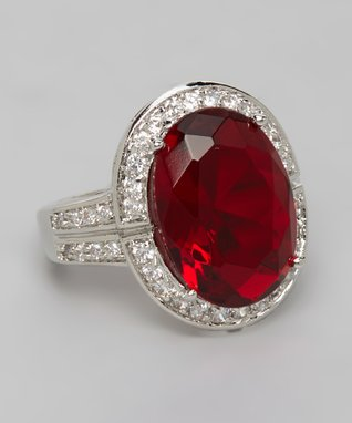 Ruby Cubic Zirconia Princess Cut Engagement Ring