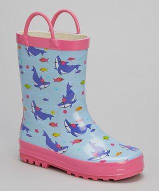 LILLY of NEW YORK Blue & Pink Shark Rain Boot