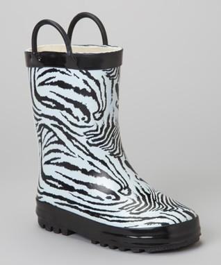 LILLY of NEW YORK Black & White Zebra Rain Boot