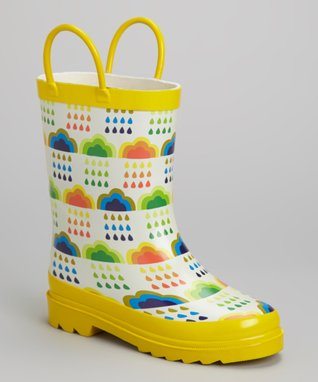 LILLY of NEW YORK Yellow & White Clouds Rain Boot