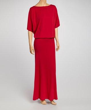 American Twist Red Cape-Sleeve Maxi Dress