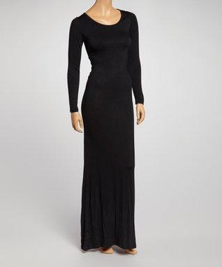 American Twist Black Long-Sleeve Maxi Dress