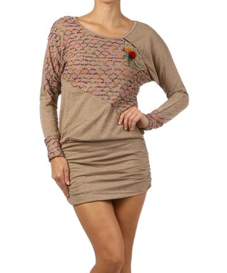 Khaki Beaded Novelty Dress