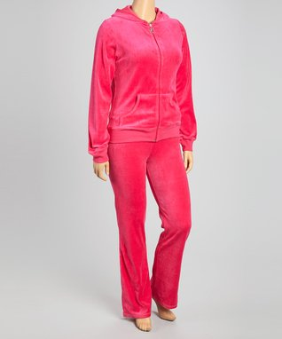 Katydid Collection Hot Pink Velour Pants & Zip-Up Hoodie - Plus
