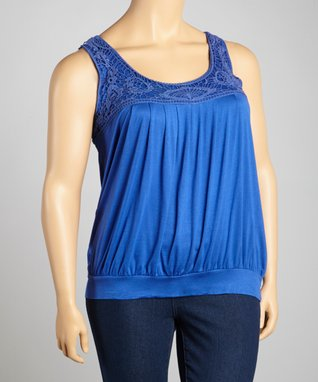Lapis Crocheted Banded Tank - Plus