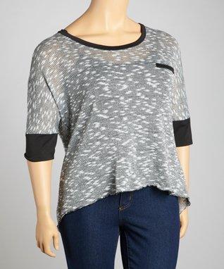 Silver Lace-Trim Cape-Sleeve Top - Plus
