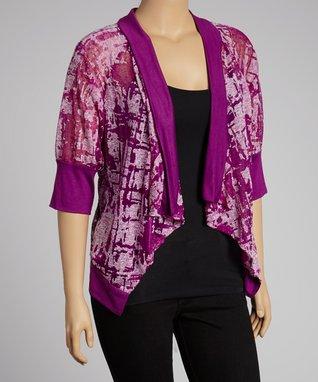 Purple Open Cardigan - Plus