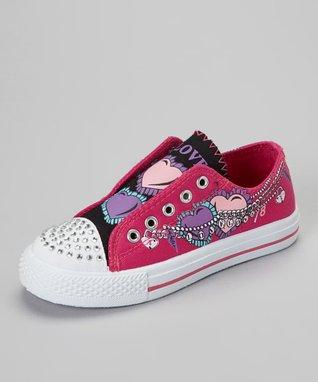 Ameta Corporation Fuchsia & Black 'Love' Slip-On Sneaker