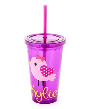 Pink & Purple Polka Dot Bird Personalized Tumbler