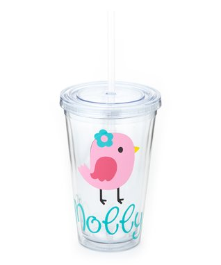 Clear & Pink Polka Dot Bird Personalized Tumbler