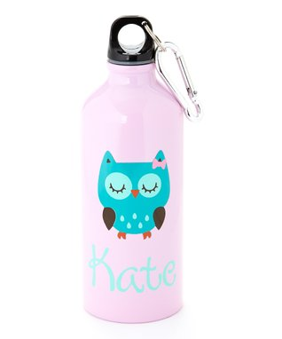 Turquoise Owl Personalized Water Bottle