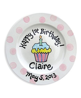 Pink Cupcake Personalized Plate