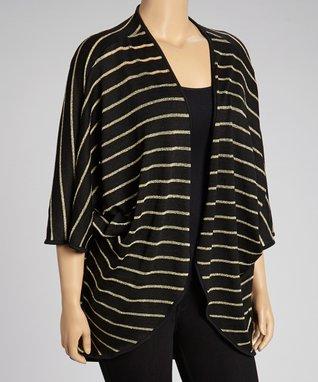 Black & Gold Stripe Open Duster - Plus