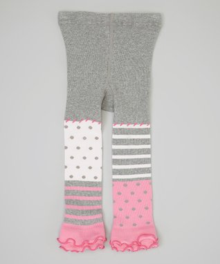 Gray & Pink Polka Dot Footless Tights - Infant, Toddler & Girls