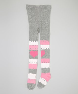 Gray & Pink Stripe Heart Tights - Infant & Girls