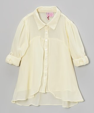 Apollo Ivory Flyaway Button-Up - Girls