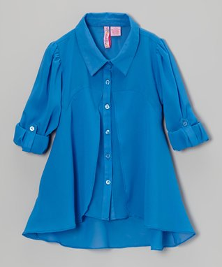 Apollo Royal Blue Flyaway Button-Up - Girls