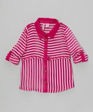 Apollo Fuchsia Stripe Button-Up Tank - Girls