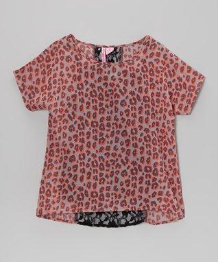 Apollo Coral Lace Dolman Top - Girls
