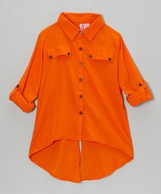 Apollo Orange Button-Up - Girls