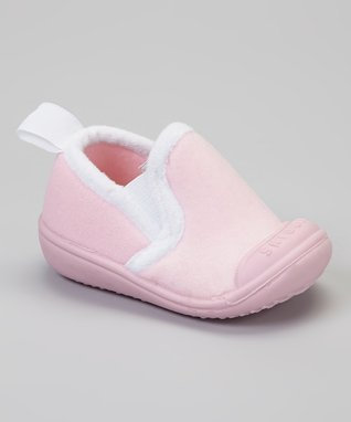 Skidders Light Pink & White Slip-On Gripper Slipper