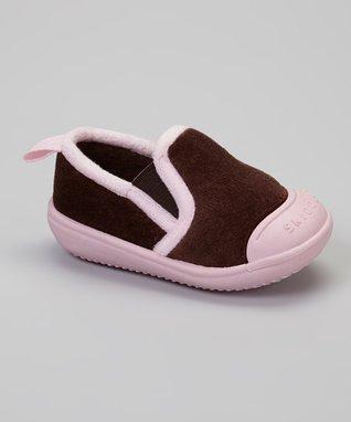 Skidders Brown & Pink Slip-On Gripper Slipper