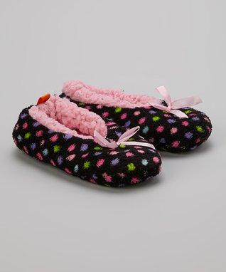 Skidders Black & Pink Polka Dot Gripper Slipper