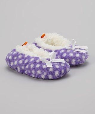 Skidders Purple & White Polka Dot Gripper Slipper