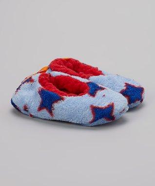 Skidders Blue & Red Star Gripper Slipper
