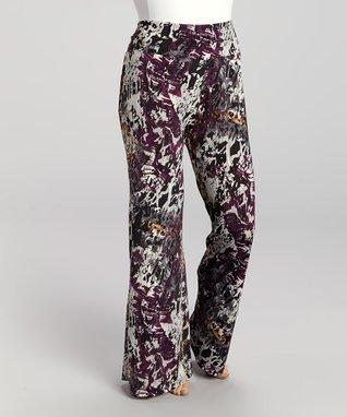 Purple & Gray Palazzo Pants - Plus