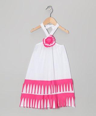 White & Fuchsia Halter Dress - Toddler & Girls