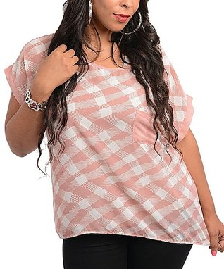 Dusty Pink & Ivory Button-Back Pocket Short-Sleeve Top - Plus