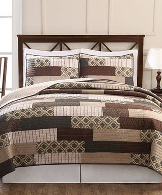 Tan Rhys Hotel Quilted Overfilled Comforter Set