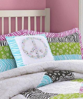 Pink Pieced Stripe Comforter Set
