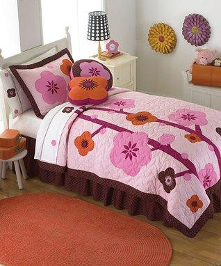Chocolate & Pink Blossom Quilt Set