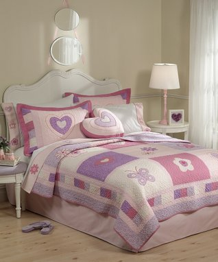 Purple & Pink Hearts Twin Quilt Set