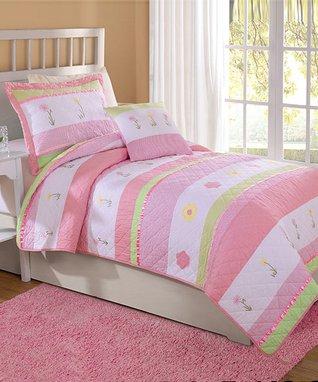 Simple Floral Stripe Quilt Set