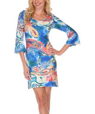 Blue & Orange Rachel Scoop Neck Dress